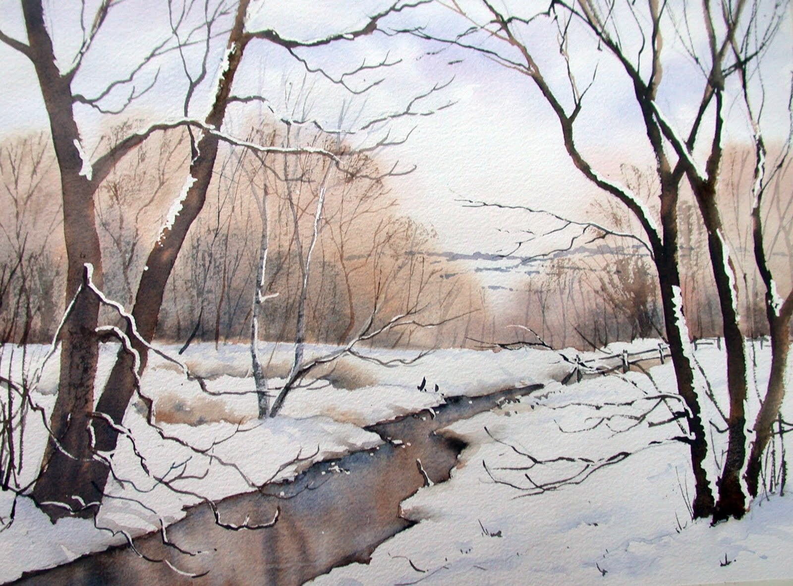 Brook: a snowy stream by Ann Mortimer